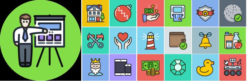 Unigrid Flat icons