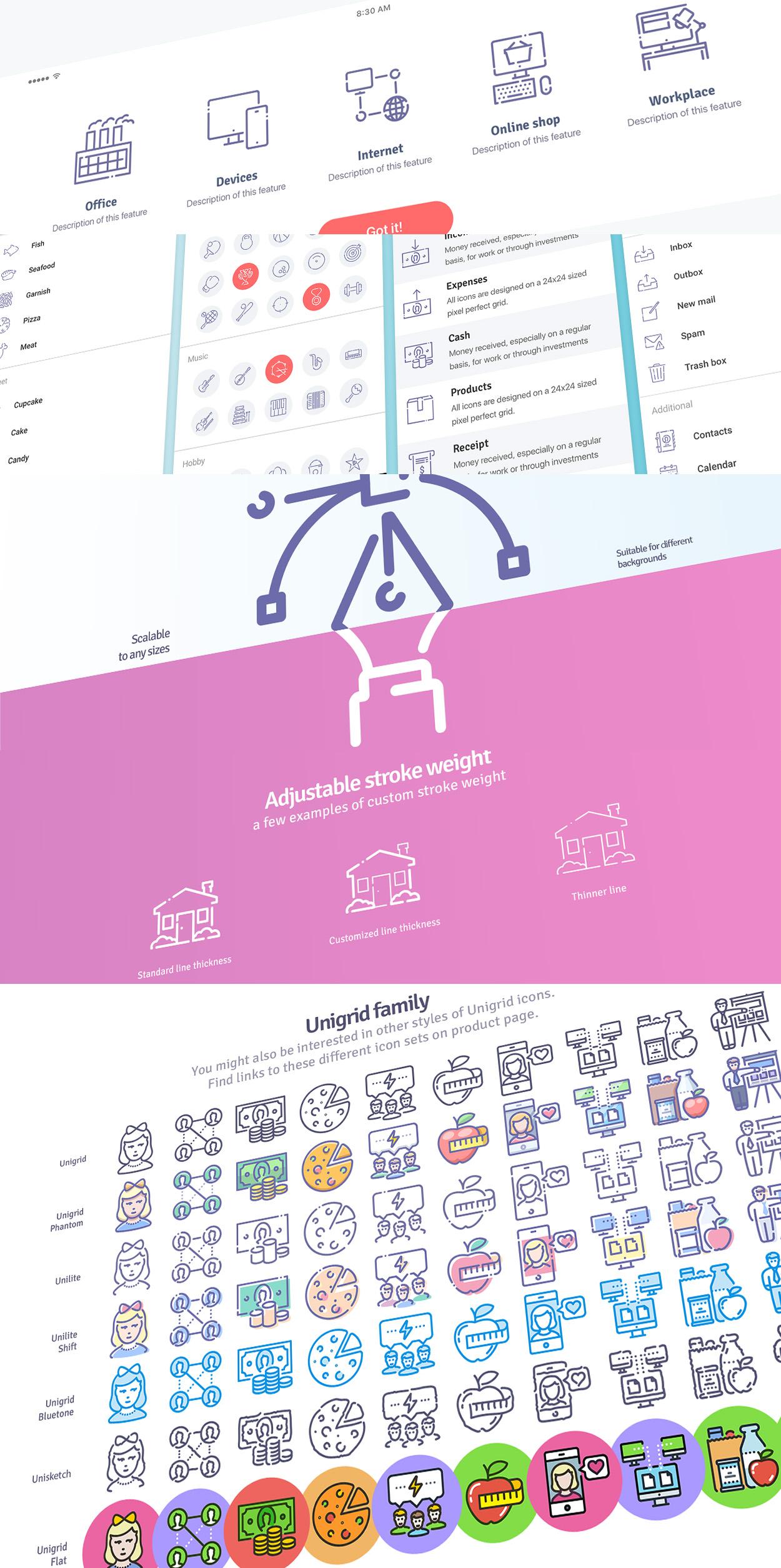 Unilite icons usage example