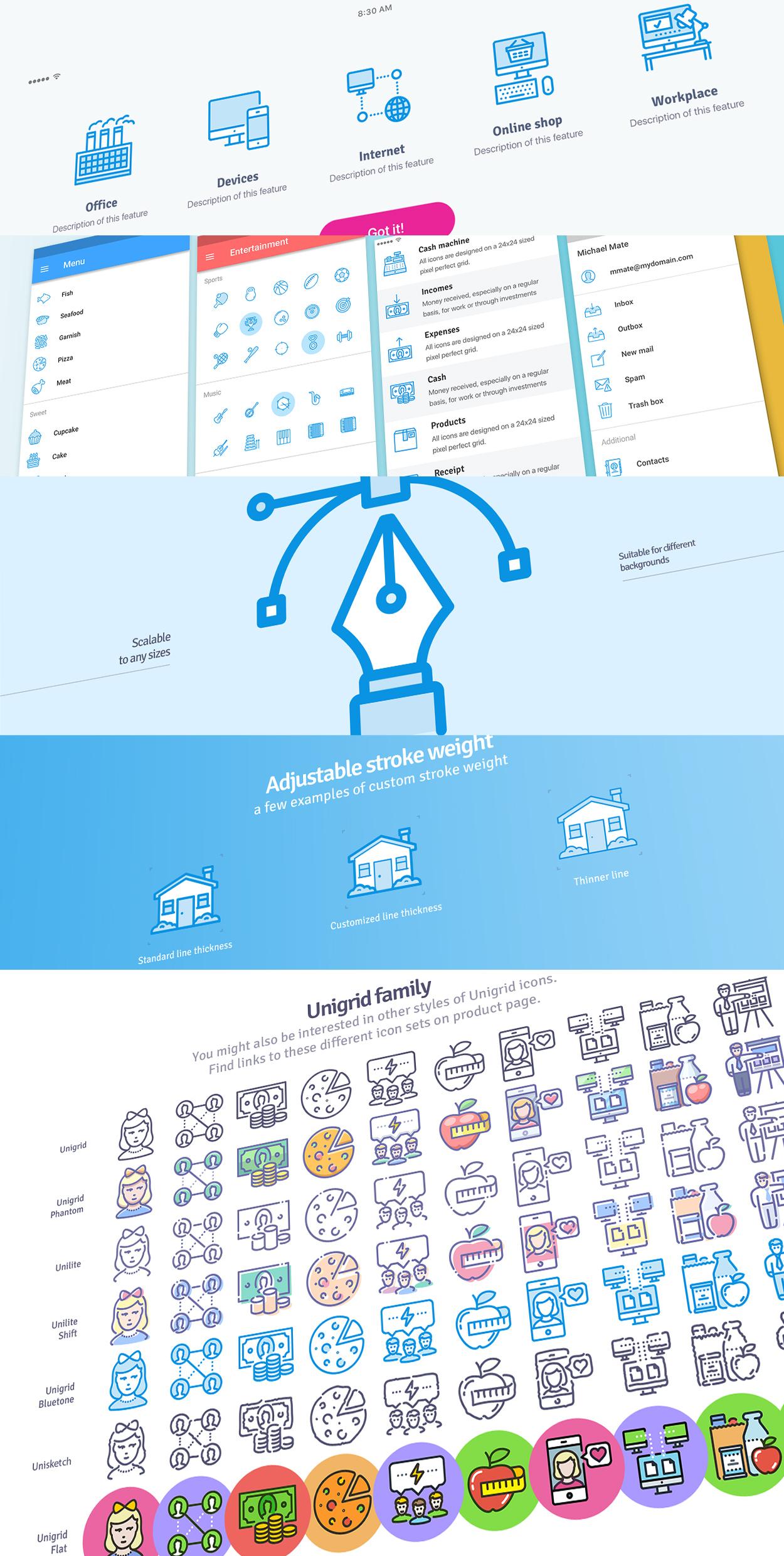 Unigrid Bluetone icons usage example