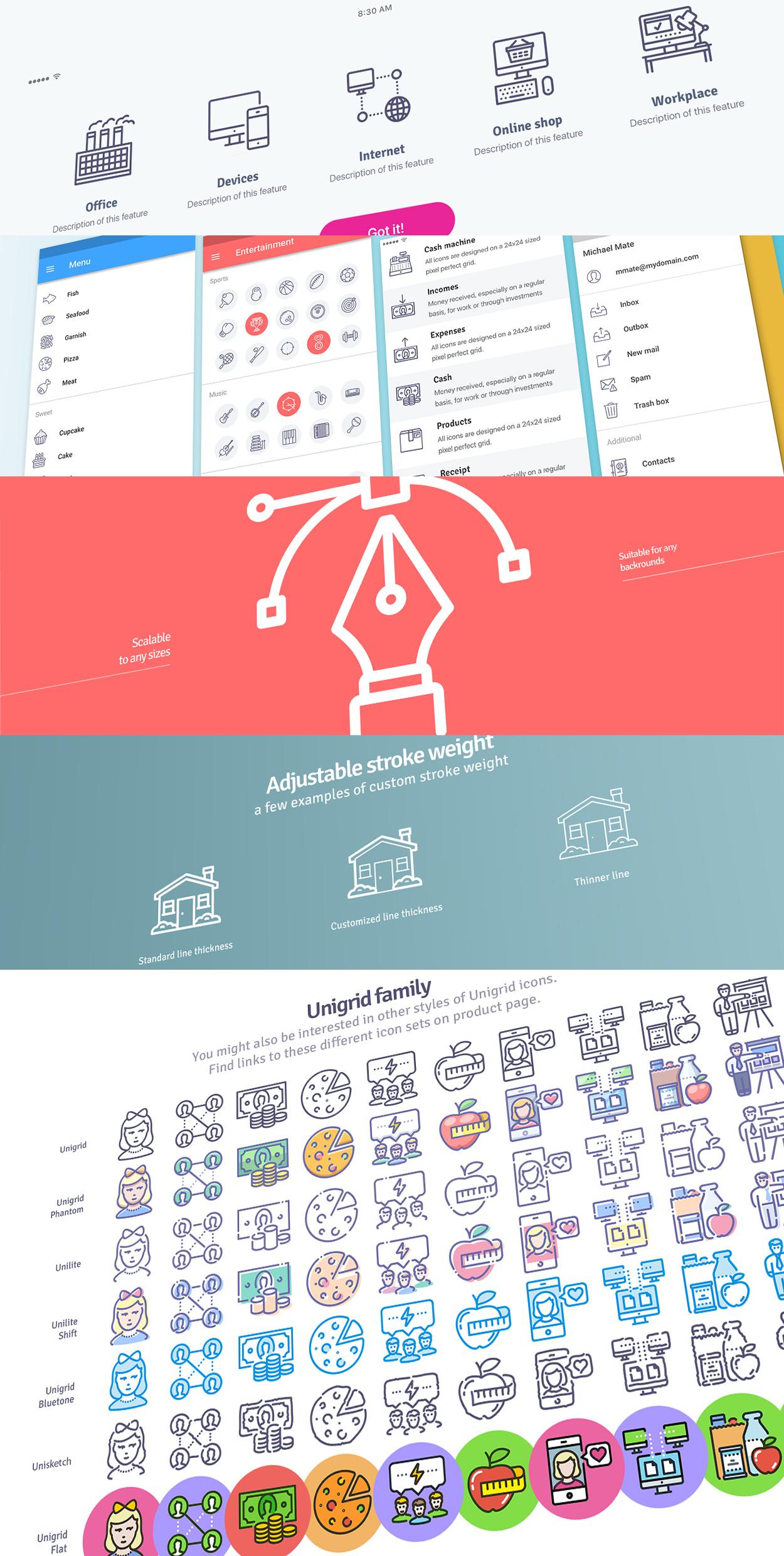 Unigrid icons usage example